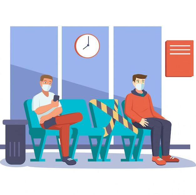 2 mans halten abstand, während sie sich in der lounge anstellen