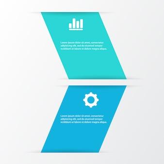 2 optionen infografiken mit symbol