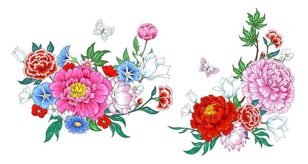 2 sträuße mit blumen im chinesischen stil