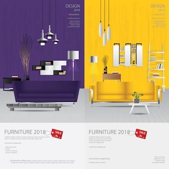 2 vertikale fahnen-möbel-verkaufs-design-schablone