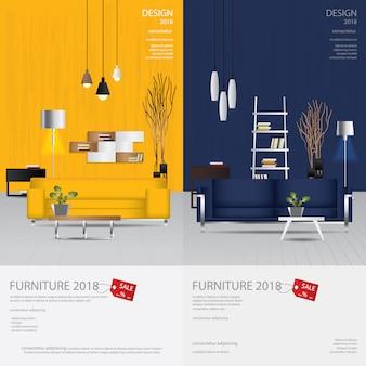2 vertikale fahnen-möbel-verkaufs-design-schablonen-vektor-illustration