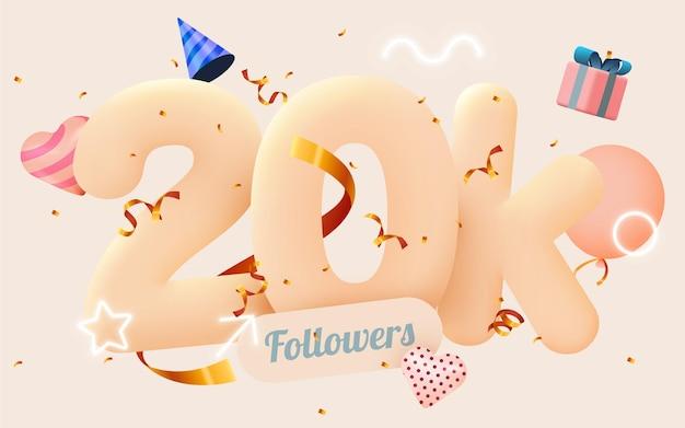 20.000 oder 20000 follower bedanken sich bei pink heart, goldenen konfetti und leuchtreklamen.