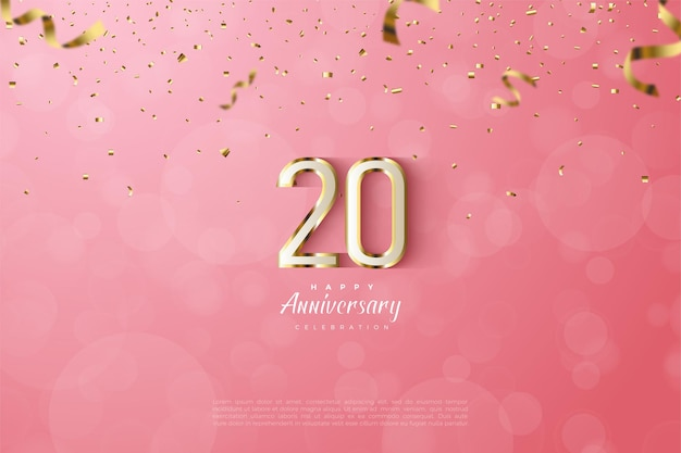 20. anivversary hintergrund mit gold gestreiften zahlen auf rosa hintergrund
