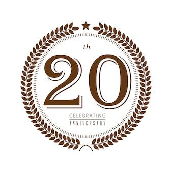20-jähriges jubiläum, das vektorlogo auf weißem hintergrund feiert