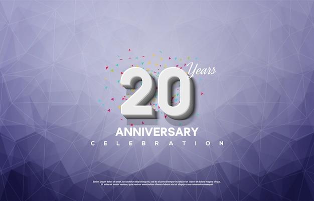 20-jähriges jubiläumsfest mit weißen 3d-zahlen auf einem zerbrochenen glashintergrund.