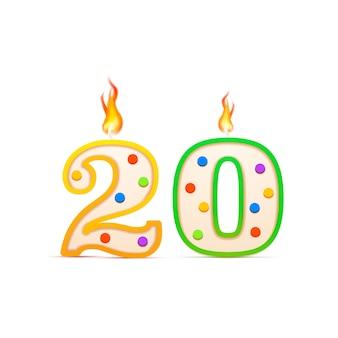 20 jahre jubiläum, 20 nummerförmige geburtstagskerze mit feuer auf weiß