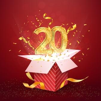 20 jahre jubiläum und offene geschenkbox mit explosionen konfetti isoliert designelement