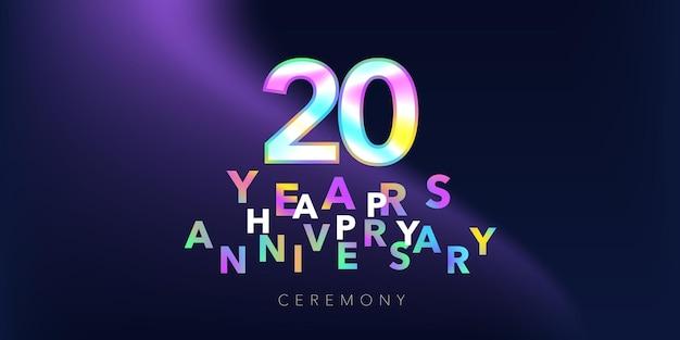 20 jahre jubiläumsvektorlogo, symbol. gestaltungselement mit nummer und text für grußkarte oder banner zum 20-jährigen jubiläum