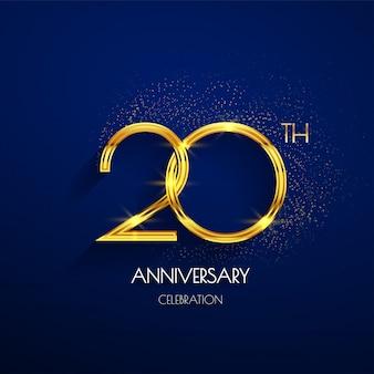 20. jahrestagslogo mit dem luxusgolden lokalisiert auf elegantem blauem hintergrund