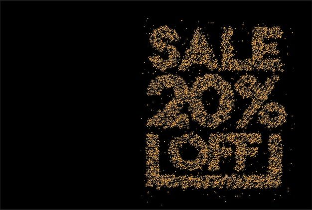 20% rabatt auf den sale-rabatt-partikel-design-banner. rabattangebot preisschild. vektor-moderne aufkleber-illustration.