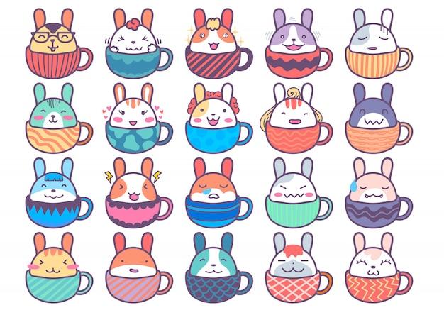 20 süße kaninchen aufkleber charakter in der tasse
