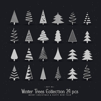 20 verschiedene weihnachtsbaum design-set