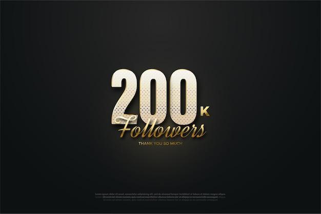 200k follower mit zahlen und schöner schrift.