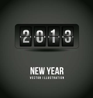 2013 neues jahr über grauer hintergrundvektorillustration