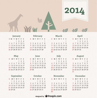 2014 kalender mit natürlichen elementen in der kopfzeile