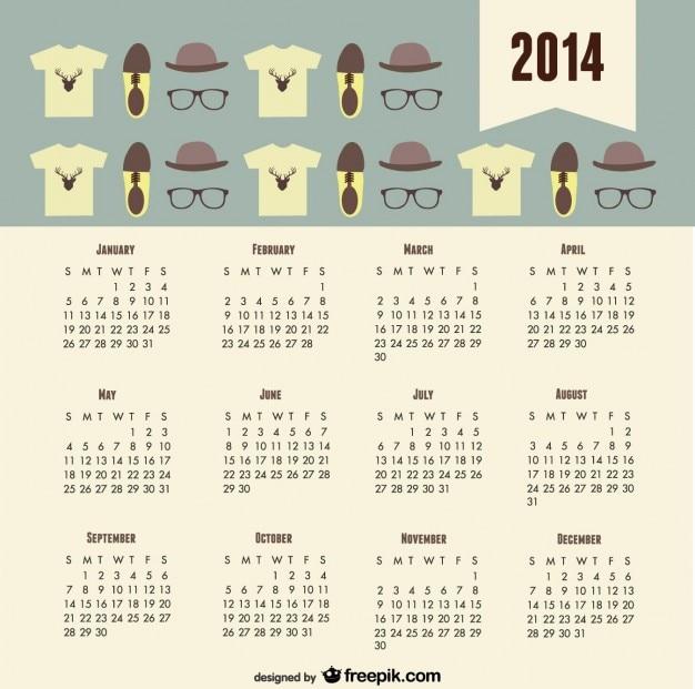 2014 kalender mode-trend hipster-look