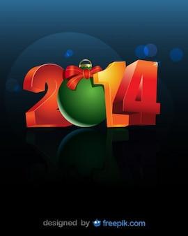 2014 umgewandelt in 0 weihnachtskugel