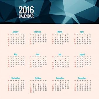 2016 blau polygonalen kalender