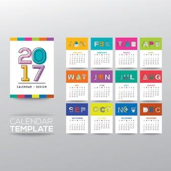 2017 kalender vektor-vorlage mit modernen linie woche grafik-stil beginnt von sonntag