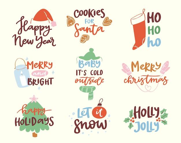 2018 frohes neues jahr text logo abzeichen schriftzug feiertagskalender drucken frohe weihnachten neugeborene party illustration
