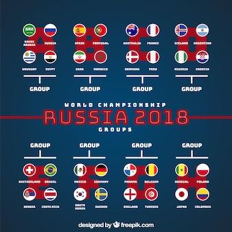 2018 Fußball-Cup-Design mit Gruppen
