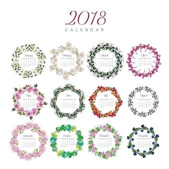 2018 kalender blumenmuster
