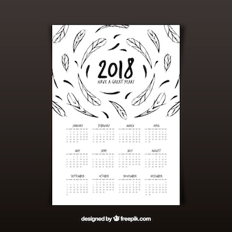 2018 kalender mit federn