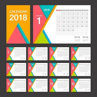 2018 kalender. moderne designschablone des tischkalenders.