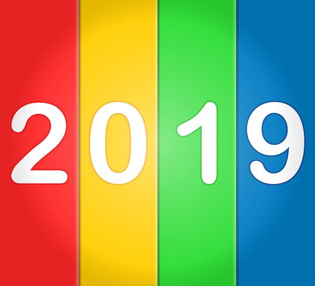 2019 frohes neues jahr mit bunten hintergründen
