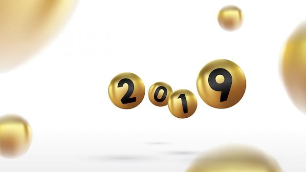 2019 frohes neues jahr mit farbe weihnachtskugeln oder abstrakten kugeln