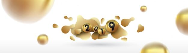 2019 frohes neues jahr mit flüssigen flüssigkeitskugeln und weihnachtskugeln