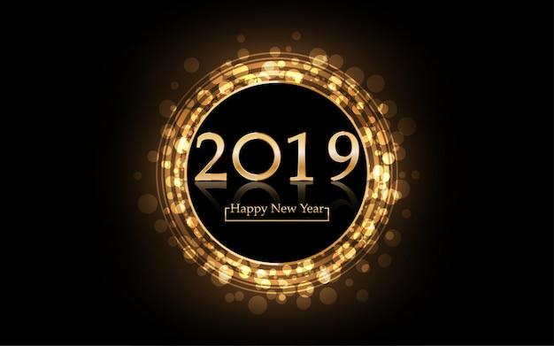 2019 frohes neues jahr mit goldenem hintergrund