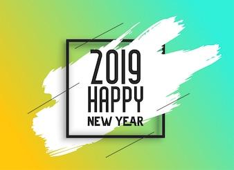 2019 guten Rutsch ins Neue Jahr-Hintergrund mit Tintenbürstenanschlag