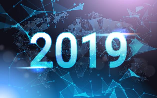2019-jähriges zeichen über futuristischem niedrigem poly mesh wireframe