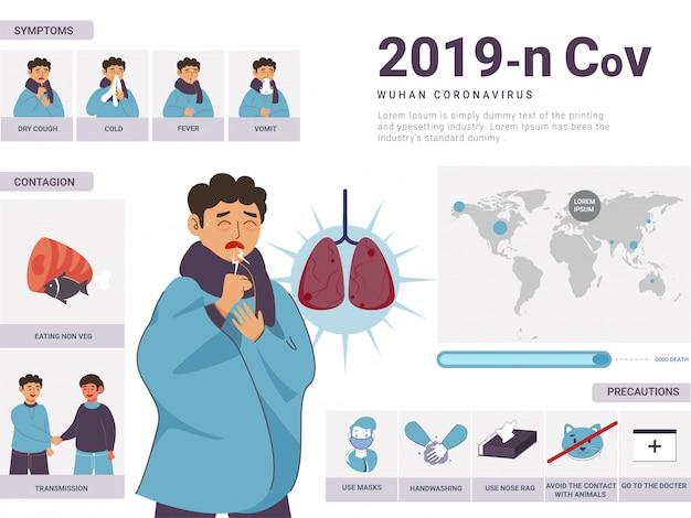 2019-ncov wuhan coronavirus-konzept, kranker, der symptome mit ansteckung, vorsichtsmaßnahmen und weltkarte zeigt.