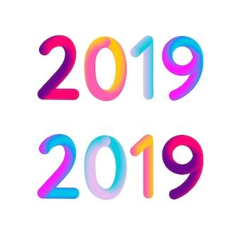 2019 neues jahr 3d karte banner illustration