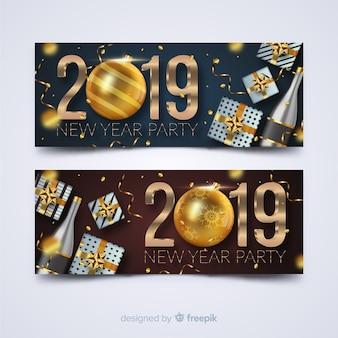 2019 party banner für das neue jahr