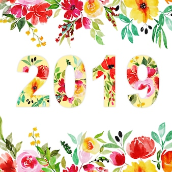2019 schriftzug typografie mit aquarell flora
