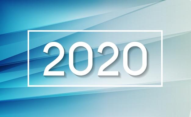 2020 abstrakte illustration des neuen jahres auf hintergrund von farbigen wellen