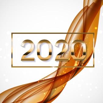 2020 abstrakte vektor-illustration des neuen jahres auf hintergrund von farbigen wellen