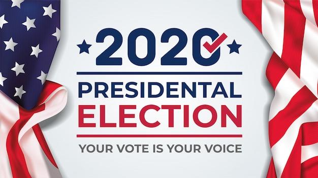 2020 banner der präsidentschaftswahlen der vereinigten staaten von amerika. wahlbanner abstimmung 2020 mit amerikanischer flagge