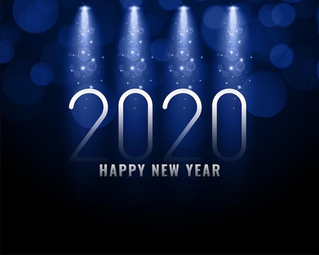 2020 blauer hintergrund des neuen jahres mit hellen strahlen