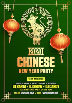 2020 chinese new year party flyer vorlage