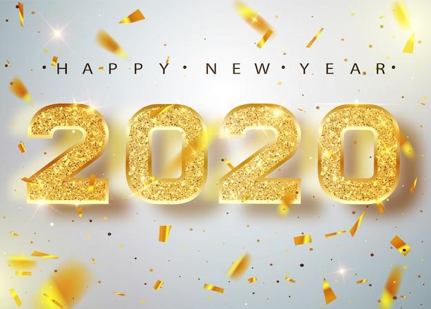 2020 frohes neues jahr. gold nummeriert grußkarte von fallenden glänzenden konfettis. gold leuchtendes muster. frohes neues banner mit 2020 zahlen auf bright. .