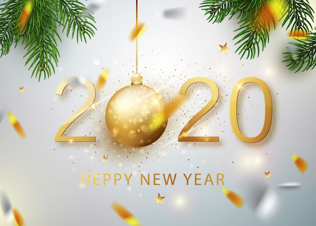 2020 frohes neues jahr. goldzahlen der grußkarte fallenden glänzenden konfettis. gold leuchtendes muster. frohes neues banner mit 2020 zahlen auf hellem hintergrund. .