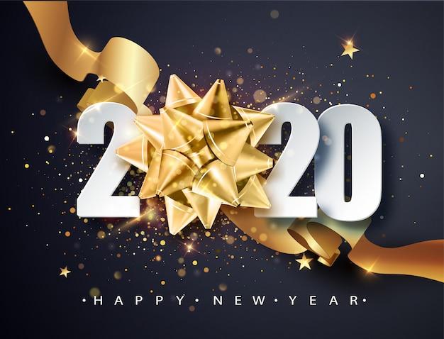2020 frohes neues jahr. guten rutsch ins neue jahr 2020, glänzender hintergrund des neuen jahres mit goldenem geschenkbogen und -funkeln.