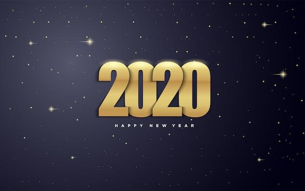 2020 frohes neues jahr mit goldfiguren und mit illustrationen von sternen in der galaxis.