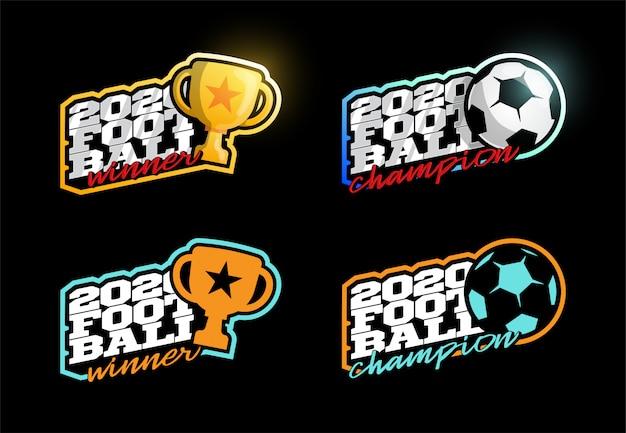 2020 fußballmeister logo set.
