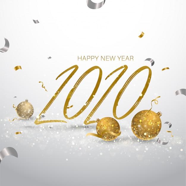 2020 grußkarte mit glitzerkugeln