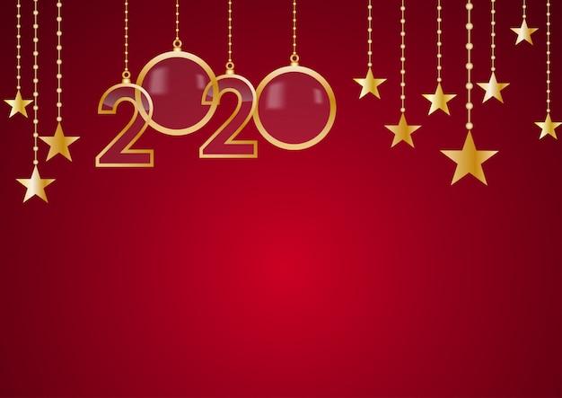 2020 guten rutsch ins neue jahr feiern roten hintergrund
